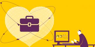 dibujo de un hombre con traje en un escritorio y un corazon con una maletin