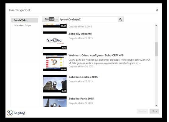 captura pantalla zoho show como intertar gadget video
