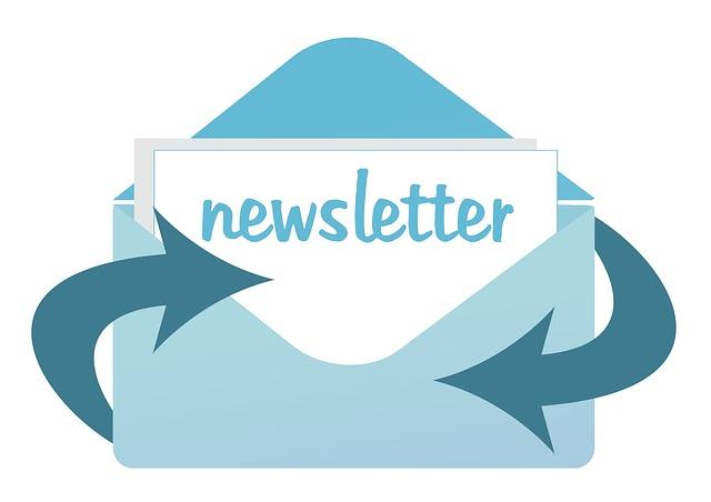 dibujo de un sobre azul sobre fondo blanco con texto newsletter