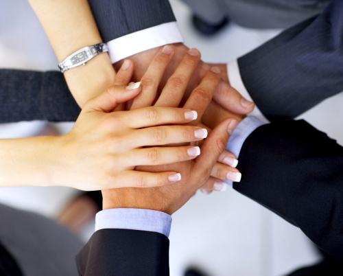 manos agrupadas en equipo