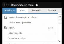 zoho writer captura de pantalla del panel de crear version