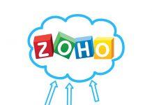 dispositivos con fondo blanco y unas flechas dibujadas señalando una nube con el logo de zoho