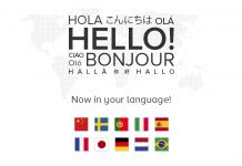"""banderas de paises sobre mapa mundi punteado con la palabra """"hola"""" en varios idiomas"""