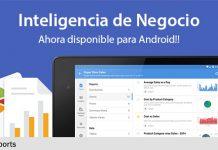 aplicacion android de zoho reports en una tablet con fondo azul y texto
