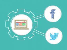 dibujo de un ordenador dentro de una rueda con flechas dirigidas logo de facebook y twitter