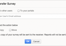 zoho survey captura de pantalla de la pestaña transfer survey