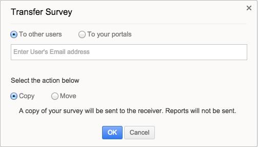 zoho survey captura de pantalla de la pestaña transfer survey