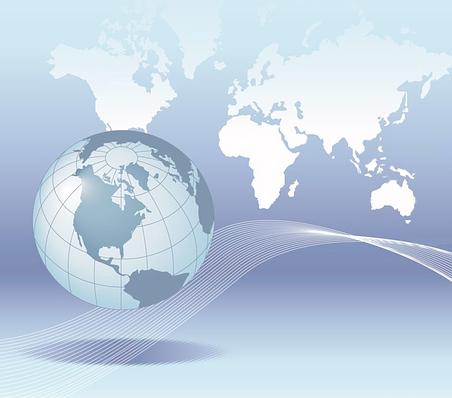 dibujo planeta tierra en azul con fondo del mapa mundi