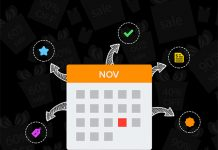 logo zoho invetory en un dibujo de un calendario de noviembre sobre fondo negro