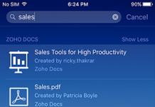 captura de pantalla de la aplicacion de zoho docs para ios barra de busqueda