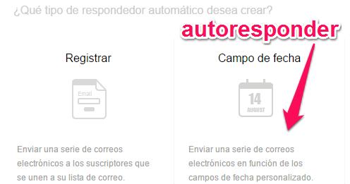 zoho campaigns captura de pantalla de la automatizacion de enviar emails con campo fecha