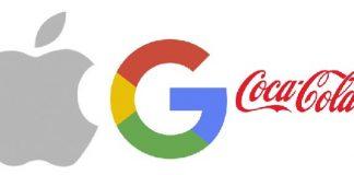 logos de apple google y cocacola sobre fondo blanco