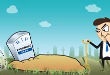 dibujo de un hombre con traje en un cementerio de dia enterrando contraseñas