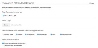 "zoho recruit captura de pantalla en ingles de ""formatted / Branded Resume"""