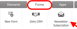zoho sites captura de pantalla de la barra del menu de formas