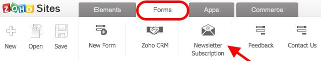 zoho sites captura de pantalla de la barra del menu de formas