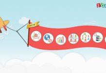 avion de anuncios dibujado con una pancarta con las nuevas caracteristicas de zoho vault