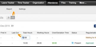 zoho people captura de pantalla de como configurar la regulacion de asistencia