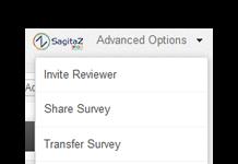 Zoho Survey captura de pantalla de la barra de opciones avanzadas