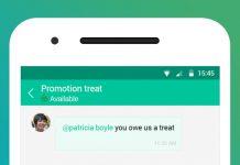 aplicacion de zoho chat en un movil dibujado mostrando las menciones en un chat