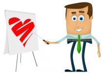 dibujo de un hombre con corbata verde señalando una pizarra con un corazon dibujado