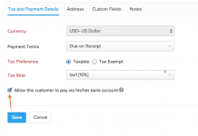 zoho subscriptions captura de pantalla de la pestaña de pagos