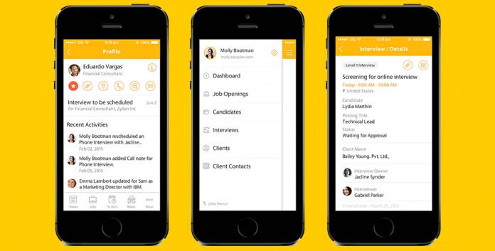 aplicacion zoho recruit en la pantalla de tres dispositivos moviles