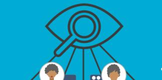 zoho sales iq dibujo de un ojo con una lupa sobre fondo azul observando a personas