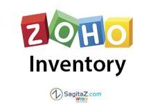 logo de Zoho Inventory en medio de dos carretillas con fondo blanco