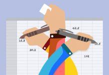 logo de zoho creator en dibujo de tres manos enlazadas escribiendo en una hoja de calculo