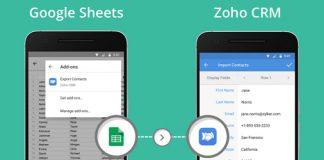 dispositivos moviles con la aplicacion de zoho crm en pantalla y google sheets mostrando la integracion