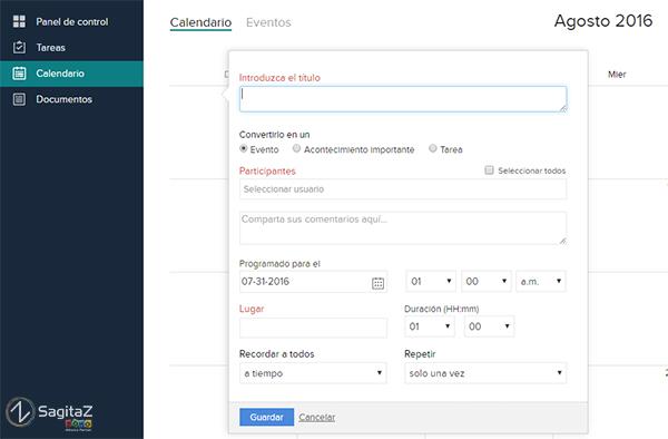 zoho projects captura de pantalla del calendario de evento