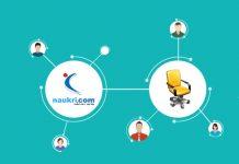 zoho recruit en dibujo de silla de escritorio y personas dibujadas al rededor conectado a naukri.com