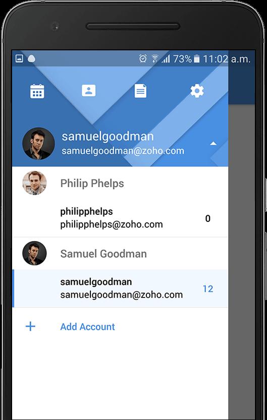 aplicacion para movil de zoho mail modo de elccion de multiples cuentas