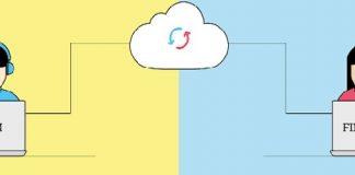 dibujo de un hombre trabajando con crm y una mujer trabajando finanzas y conectados entre si en la nube