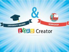 logo zoho creator en dibujo de un gorro universitario con texto university degree y workshop