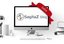 ordenador en una mesa de oficina blanco con la imagen del logo del blog de sagitaz