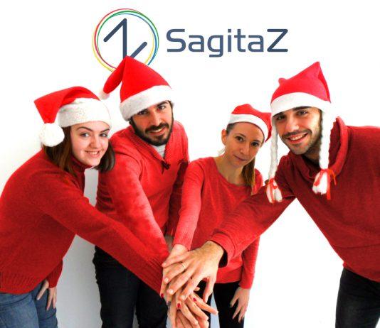 equipo de ventas de sagitaz con el gorro de navidad