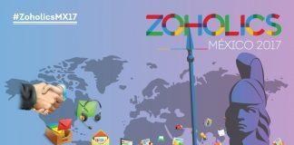 zoholics mexico 2017 anuncio con el mapa mundial y dibujo de mujer con casco y lanza