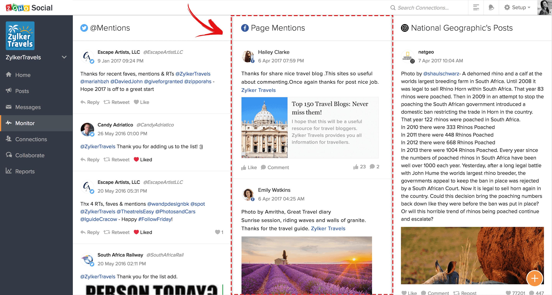 Monitorización Facebook en Zoho Social