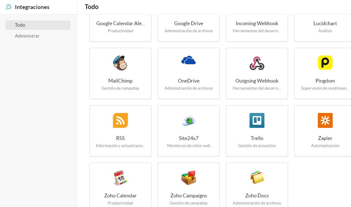 Aplicaciones que se integran con Zoho Connect