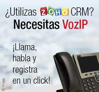 logo de Zoho CRM y un telefono fijo
