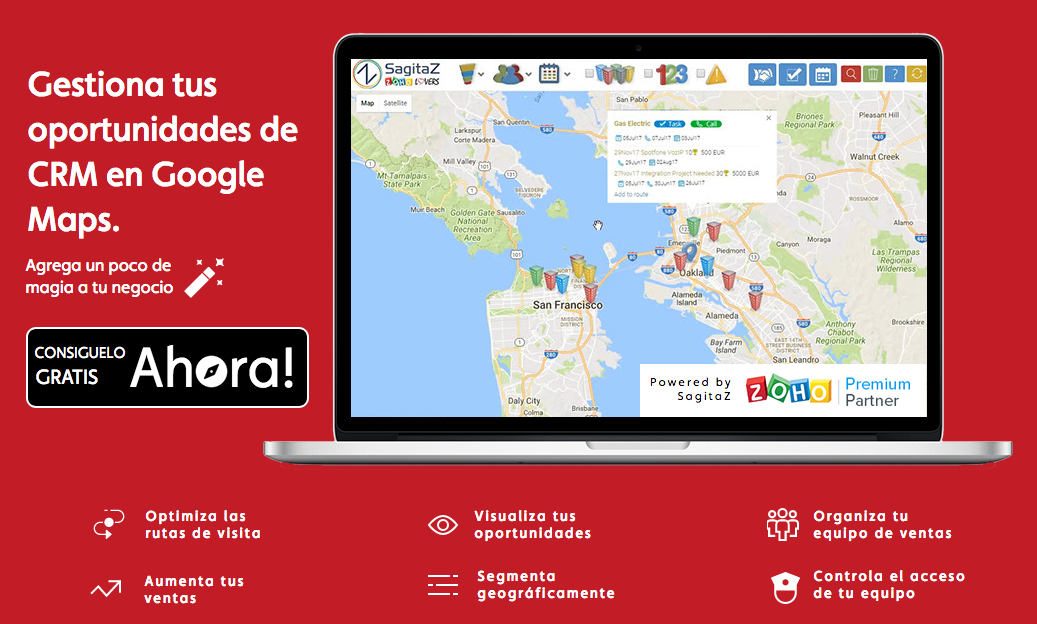 Magic SalesMap web gestion oportunidades CRM Google Maps