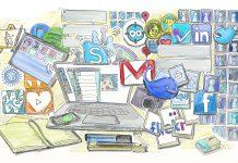Dibujo de un ordenador portatil sobre un escritorio y muchos logos de redes sociales