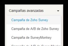 zoho campaigns captura de pantalla de la pestaña de campañas avanzadas