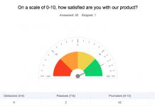 zoho survey captura de pantalla de la ventana de promoter score