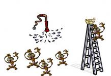 dibujo de monos y una escalera con bananas