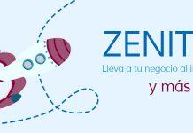 """cohete dibujado y texto """"zenith lleva a tu negocio al infinito y más allá"""""""